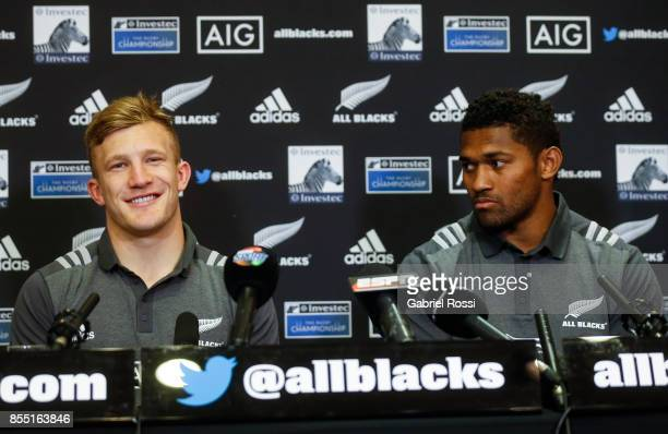 Damian McKenzie and Waisake Naholo of All Blacks speak during a New Zealand Rugby Championship Press Conference prior to a match against Argentina at...