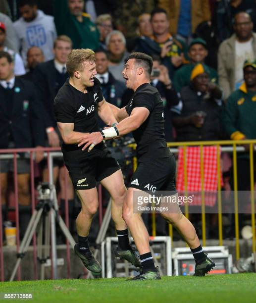 Damian McKenzie of New Zealand after scoring a try during the Rugby Championship 2017 match between South Africa and New Zealand at DHL Newlands on...