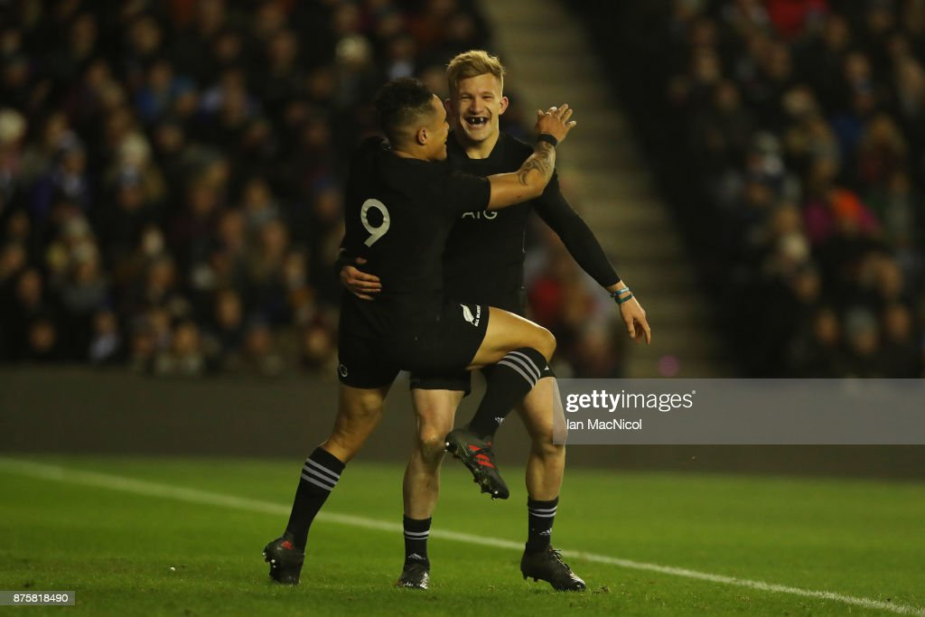 Damian McKenzie of New Zealand celebrates with Aaron Smith of New Zealand after he scores his teams second try during the International test match between Scotland and New Zealand at Murrayfield Stadium on November 18, 2017 in Edinburgh, Scotland.