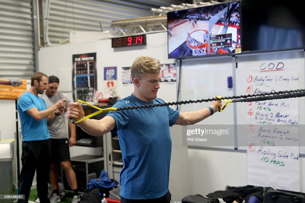 Damian McKenzie of the All Blacks during a gym session at Les Mills on May 30, 2016 in Auckland, New Zealand.
