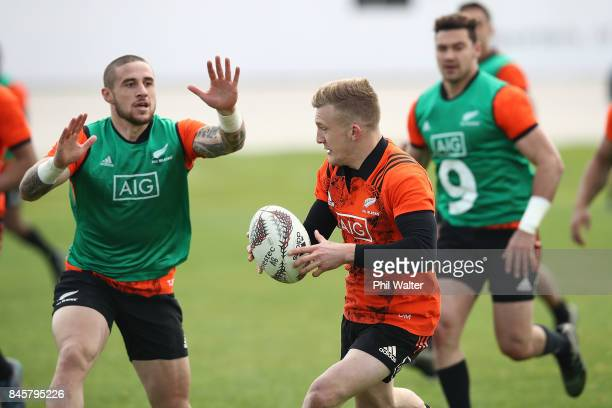 Damian McKenzie of the All Blacks during a New Zealand All Blacks training session at Alexandra Park on September 12 2017 in Auckland New Zealand
