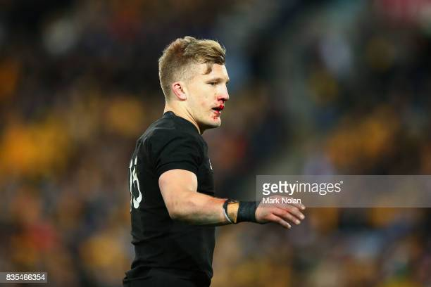 Damian McKenzie of the All Blacks is pictured during The Rugby Championship Bledisloe Cup match between the Australian Wallabies and the New Zealand...