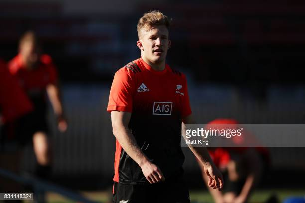 Damian McKenzie of the All Blacks looks on during the New Zealand All Blacks captain's run at North Sydney Oval on August 18 2017 in Sydney Australia