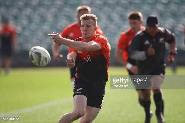 Damian McKenzie of the All Blacks passes during a New Zealand All Blacks Captain's Run at QBE Stadium on September 15 2017 in Auckland New Zealand
