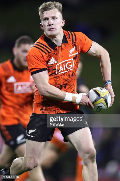 Damian McKenzie of the All Blacks passes during the Game of Three Halves between the All Blacks and Counties at ECOLight Stadium on August 11 2017 in...