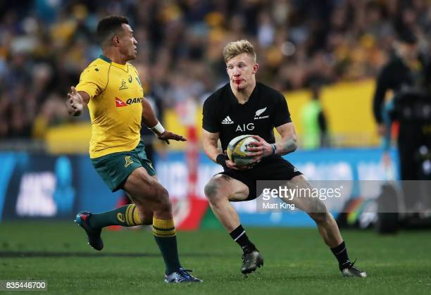 Damian McKenzie of the All Blacks runs with the ball during The Rugby Championship Bledisloe Cup match between the Australian Wallabies and the New...