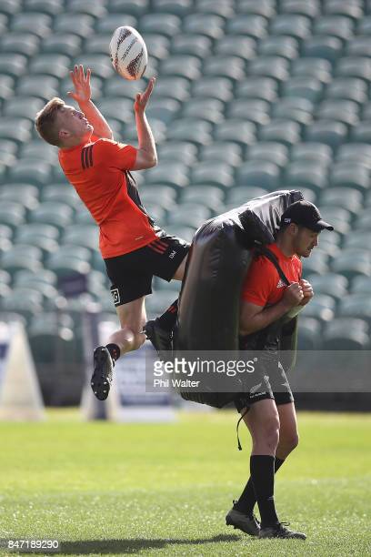 Damian McKenzie of the All Blacks takes a high ball during a New Zealand All Blacks Captain's Run at QBE Stadium on September 15 2017 in Auckland New...