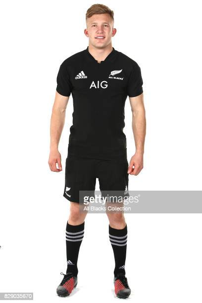 Damian McKenzie poses during a New Zealand All Blacks headshots session at The Heritage Hotel on August 10 2017 in Auckland New Zealand