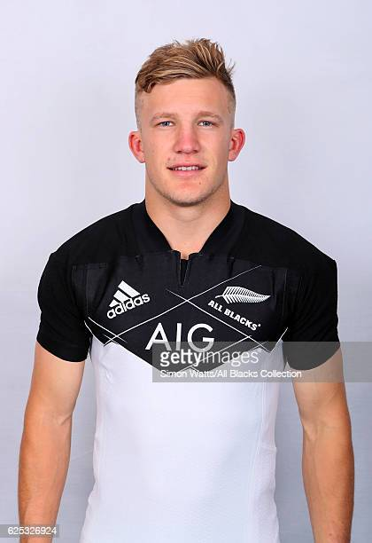 Damian McKenzie poses during the All Blacks End of Year Tour 2016 Headshots Session at Auckland International Airport Novotel on October 28 2016 in...