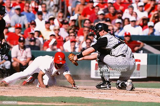 Damian Miller of the Arizona Diamondbacks attempts to tag out Wilson Delgado of the St Louis Cardinals at Busch Stadium on September 25 2002 in St...