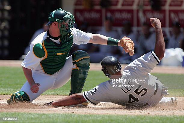 Damian Miller of the Oakland Athletics tags out Carlos Lee of the Chicago White Sox in the second inning during a MLB game at the Network Associates...