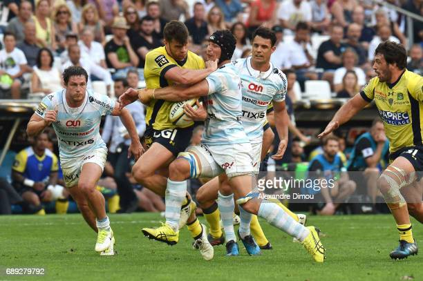 Damian Penaud of Clermont and Wenceslas Lauret of Racing during the Top 14 semi final match between Racing 92 and Clermont Auvergne at Orange...