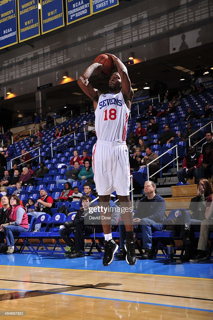 Damian Saunders of the Delaware 87ers shoots against the Canton Charge during the NBA DLeague game on December 8 2013 at the Frank Acierno Arena in...