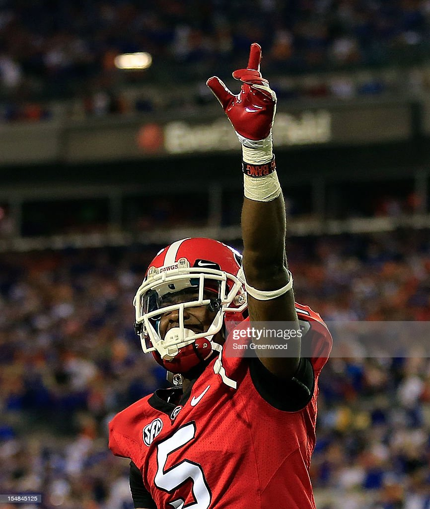 Damian Swann #5 of the Georgia Bulldogs points to the crowd following the game against the Florida Gators at EverBank Field on October 27, 2012 in Jacksonville, Florida.