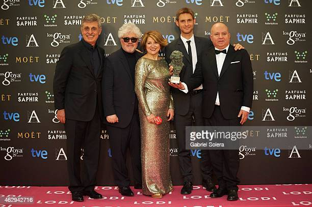 Damian Szifron holds the award for Best Iberoamerican Film Award in the film 'Relatos Salvajes' during the 2015 edition of the 'Goya Cinema Awards'...