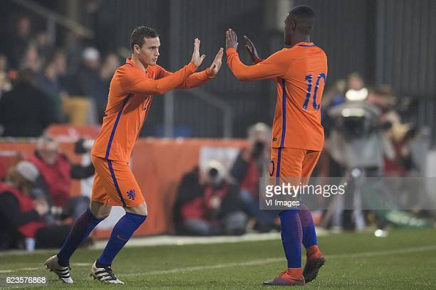 Damian van Bruggen of The Netherlands U21 Riechedly Bazoer of The Netherlands U21during the friendly match between Netherlands U21 and Portugal U21...