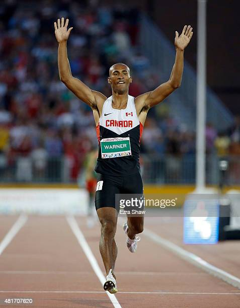 Damian Warner of Canada celebrates after he won the men's decathlon during Day 13 of the Toronto 2015 Pan Am Games on July 23 2015 in Toronto Canada