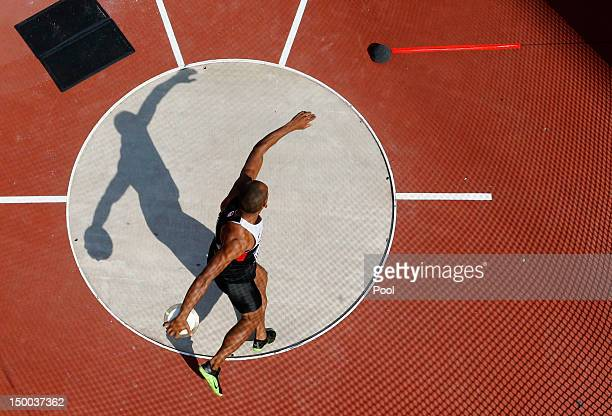 Damian Warner of Canada competes during the Men's Decathlon Discus Throw on Day 13 of the London 2012 Olympic Games at Olympic Stadium on August 9...