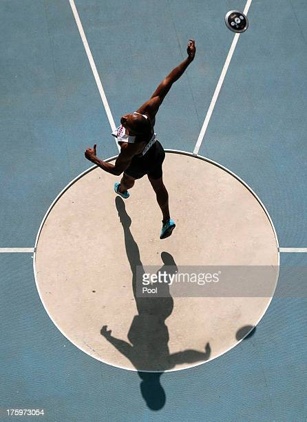 Damian Warner of Canada competes in the men's decathlon discus throw event during Day Two of the 14th IAAF World Athletics Championships Moscow 2013...