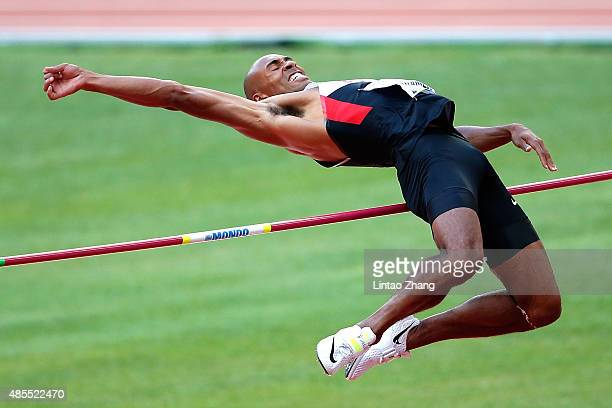 Damian Warner of Canada competes in the Men's Decathlon High Jump during day seven of the 15th IAAF World Athletics Championships Beijing 2015 at...