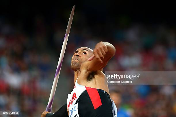 Damian Warner of Canada competes in the Men's Decathlon Javelin during day eight of the 15th IAAF World Athletics Championships Beijing 2015 at...
