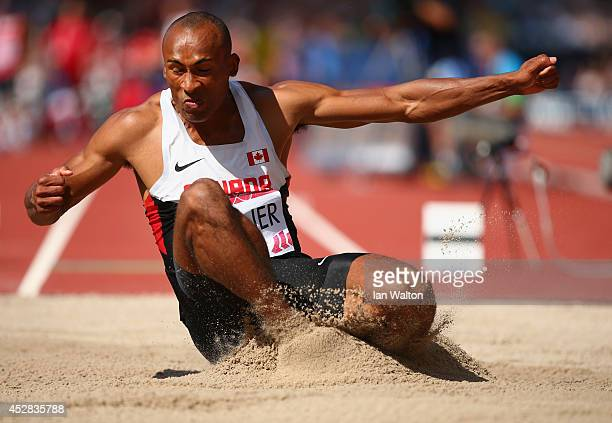 Damian Warner of Canada competes in the Men's Decathlon Long Jump at Hampden Park during day five of the Glasgow 2014 Commonwealth Games on July 28...