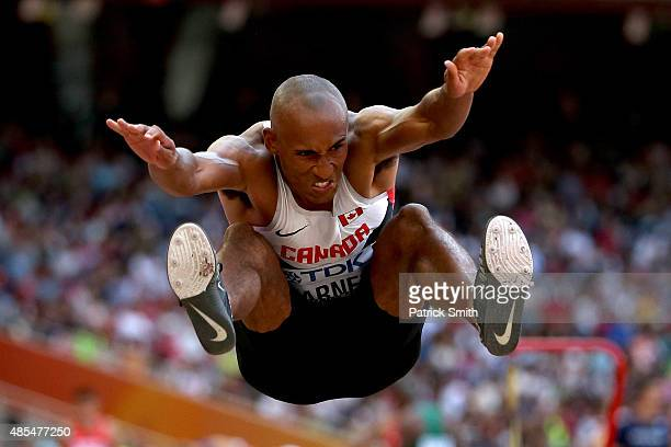 Damian Warner of Canada competes in the Men's Decathlon Long Jump during day seven of the 15th IAAF World Athletics Championships Beijing 2015 at...