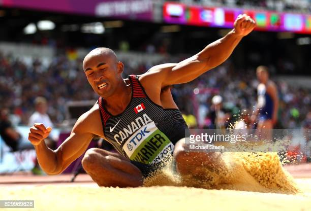 Damian Warner of Canada competes in the Men's Decathlon Long Jump during day eight of the 16th IAAF World Athletics Championships London 2017 at The...