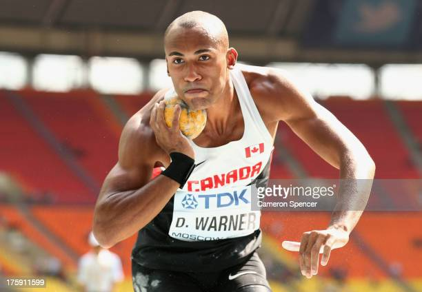 Damian Warner of Canada competes in the Men's Decathlon Shot Put during Day One of the 14th IAAF World Athletics Championships Moscow 2013 at...
