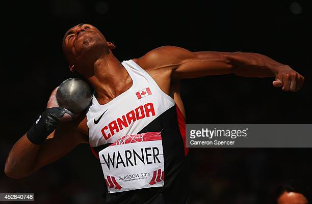 Damian Warner of Canada competes in the Men's Decathlon Shot Put competes in the Men's Shot Put final at Hampden Park during day five of the Glasgow...