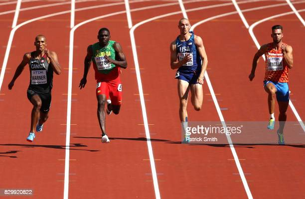 Damian Warner of Canada Lindon Victor of Grenada Zach Ziemek of the United States and Eelco Sintnicolaas of the Netherlands compete in the Men's...
