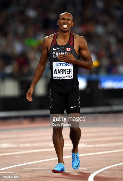 Damian Warner of Canada reacts after his heat in the Men's Decathlon 400 metres during day eight of the 16th IAAF World Athletics Championships...