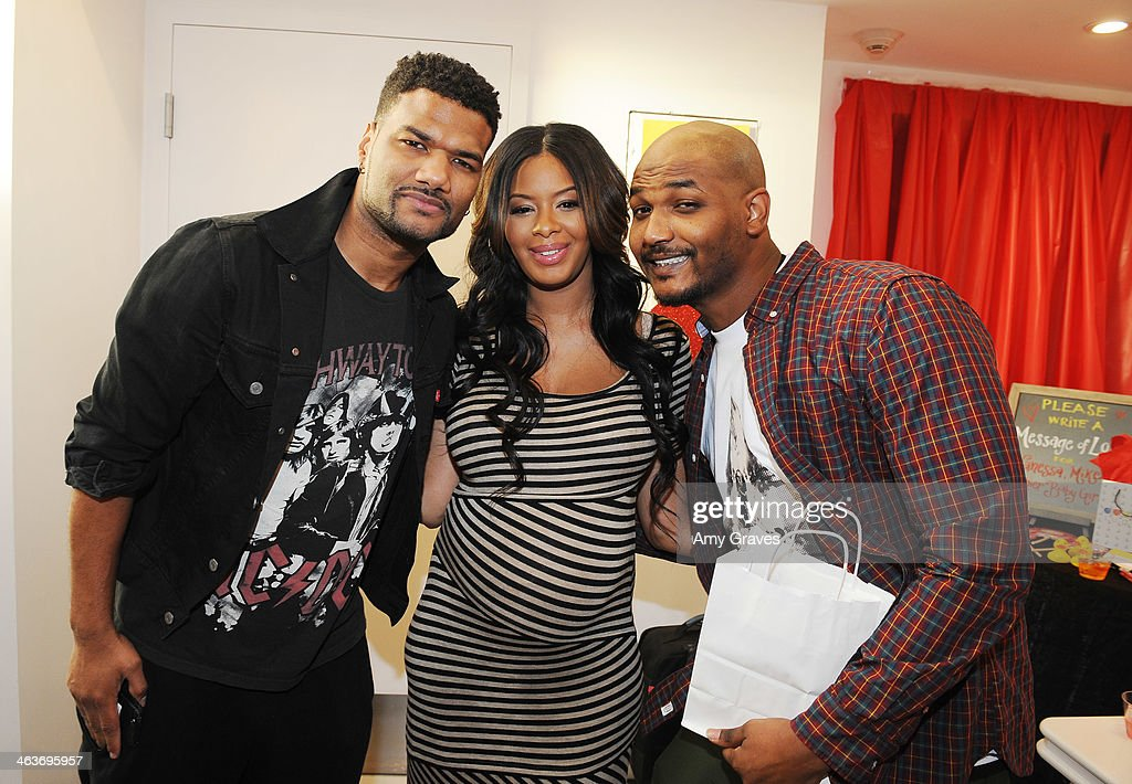 Damian Wayans Vanessa Simmons and Mike Wayans attend Vanessa Simmons Baby Shower at Sugar Factory Hollywood on January 18 2014 in Los Angeles...