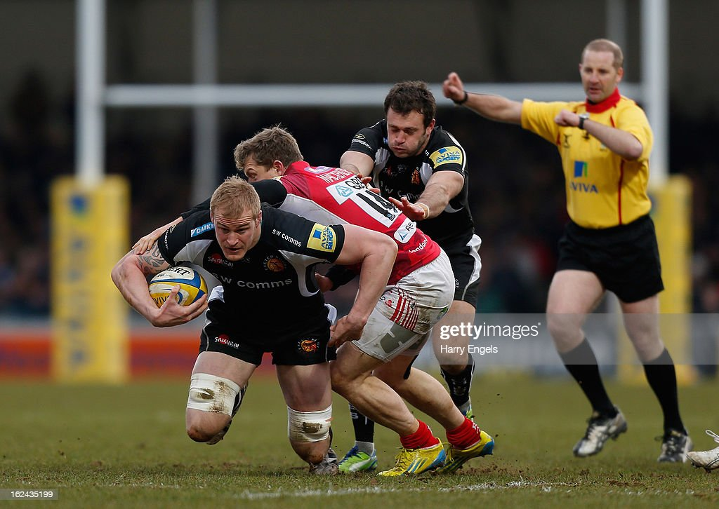 Damian Welch of Exeter breaks through the London Welsh defence during the Aviva Premiership match between Exeter Chiefs and London Welsh at Sandy Park on February 23, 2013 in Exeter, England.
