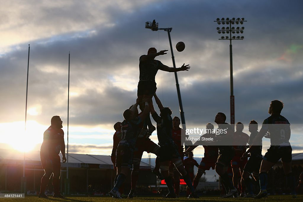 Damian Welch of Exeter Chiefs rises highest at a lineout during the Heineken Cup Pool Two match between Exeter Chiefs and Toulon at Sandy Park on December 7, 2013 in Exeter, England.