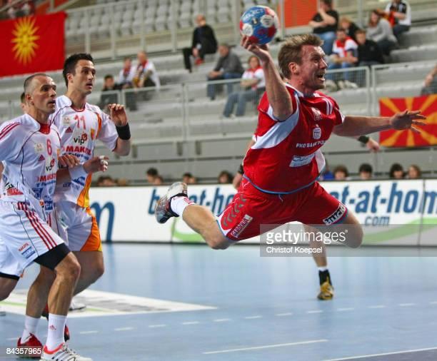 Damian Wleklak of Poland scores a goal during the Men's World Handball Championships match between Poland and Macedonia at the Sports Centre Varazdin...