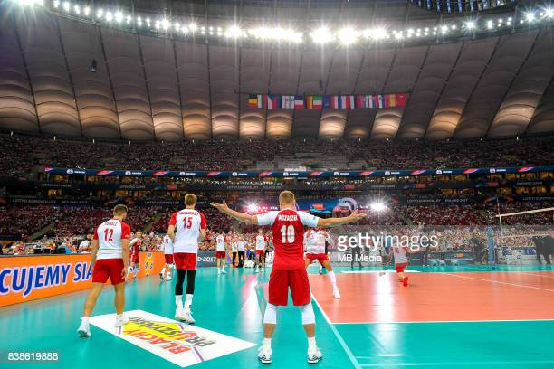 Damian Wojtaszek during the European Men's Volleyball Championships 2017 match between Poland and Serbia on August 24 2017 in Warsaw Poland