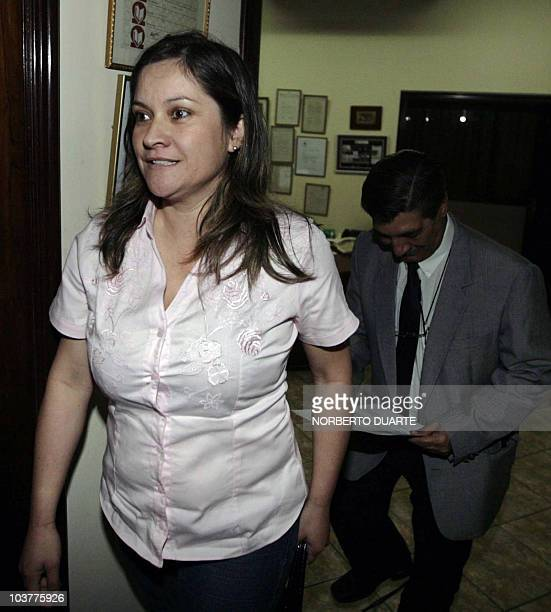 Damiana Hortensia Moran and her attorney Oscar Tuma who filed a paternity lawsuit against Paraguayan President Fernando Lugo arrive for a news...