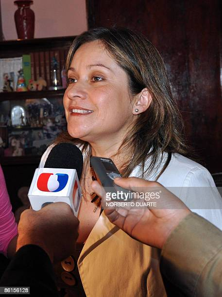 Damiana Hortensia Morán Amarilla a 39year old daycare center director speaks to the press in San Lorenzo 20 Kilometers east of Asuncion on April 22...