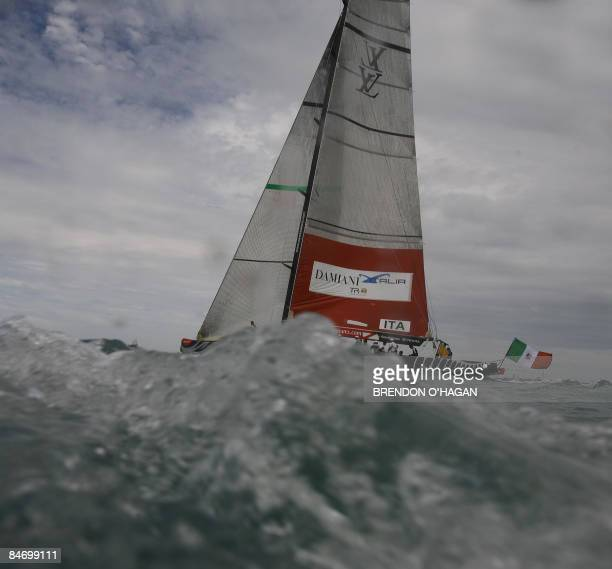 Damiana Italia Challenge prepares before the race with Team Origin from Great Britain during round robin 2 on day five of the series of the Louis...