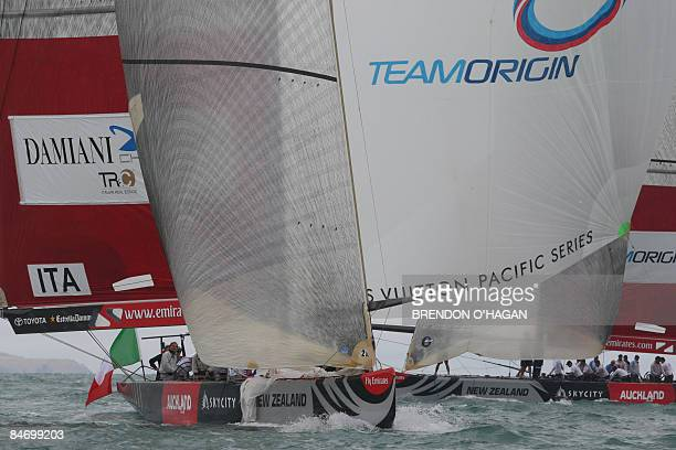 Damiana Italia Challenge rounds the mark ahead of Team Origin from Great Britain during round robin 2 on day five of the series of the Louis Vuitton...