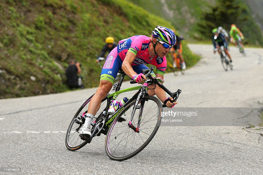 <a gi-track='captionPersonalityLinkClicked' href=/galleries/search?phrase=Damiano+Cunego&family=editorial&specificpeople=546982 ng-click='$event.stopPropagation()'>Damiano Cunego</a> of Italy and Lampre Merida in action during stage nineteen of the 2013 Tour de France, a 204.5KM road stage from Bourg d'Oisans to Le Grand Bornand, on July 19, 2013 in Le Grand Bornand, France.