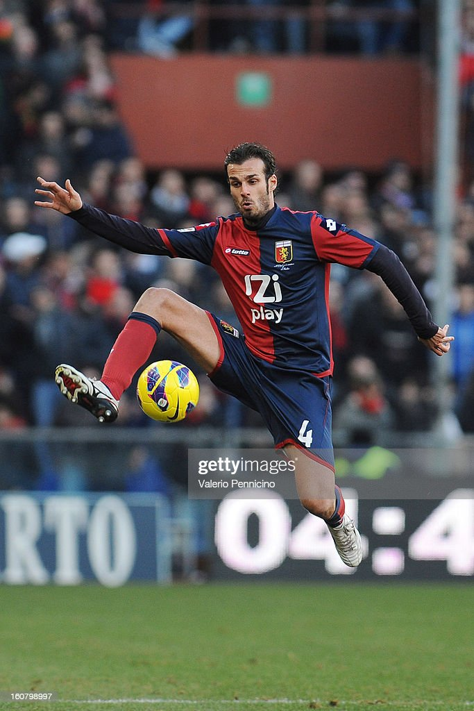 Damiano Ferronetti of Genoa CFC in action during the Serie A match between Genoa CFC and SS Lazio at Stadio Luigi Ferraris on February 3, 2013 in Genoa, Italy.