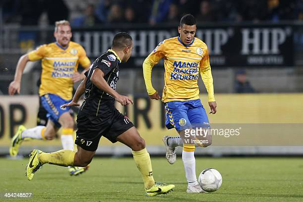 Damiano Schet of RKC Waalwijk Lucas Bijker of SC Cambuur during the Dutch Eredivisie match between RKC Waalwijk and SC Cambuur on December 07 2013 at...