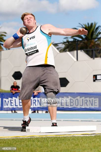 Damien Birken head competes in the mens shot put during the 92nd Australian Athletics Championships on April 6 2014 in Melbourne Australia
