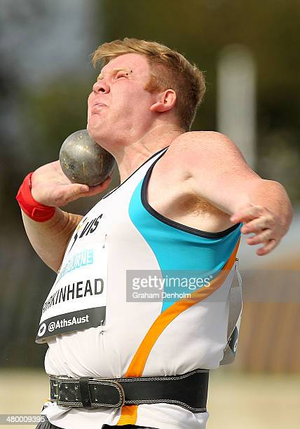 Damien Birkinhead of Australia competes in the Men's shot put open during the IAAF Melbourne World Challenge at Olympic Park on March 22 2014 in...