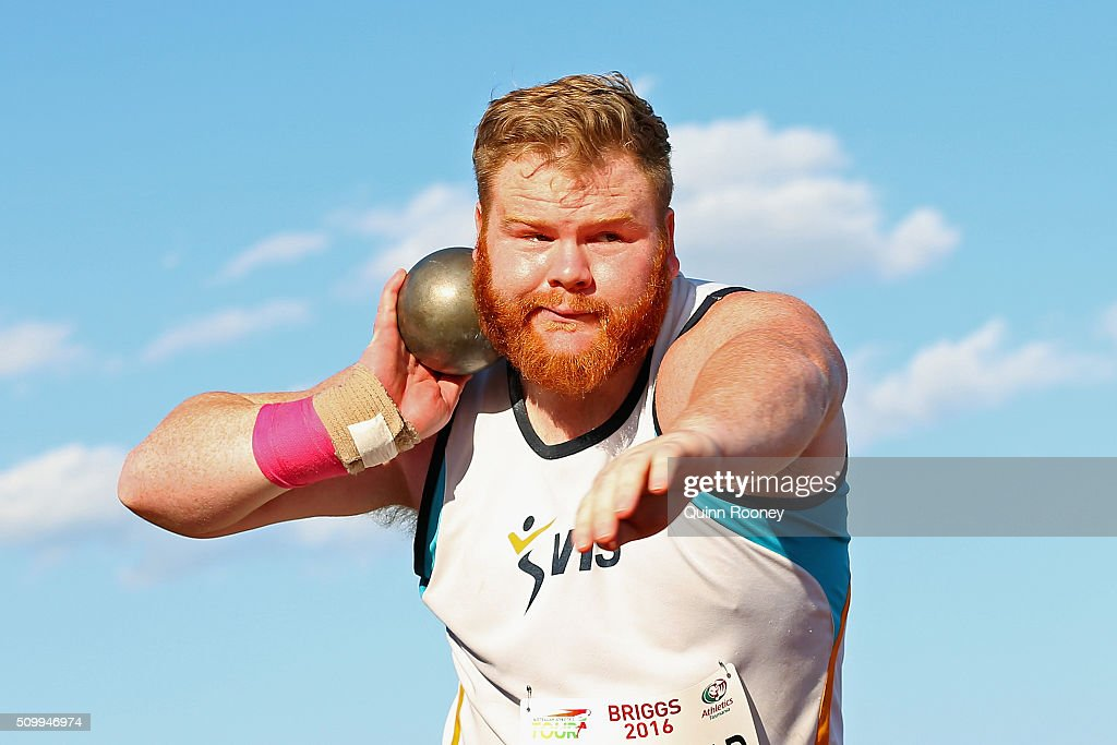 Damien Birkinhead of Victoria competes in the Shot Put during the Briggs Athletics Classic on February 13, 2016 in Hobart, Australia.