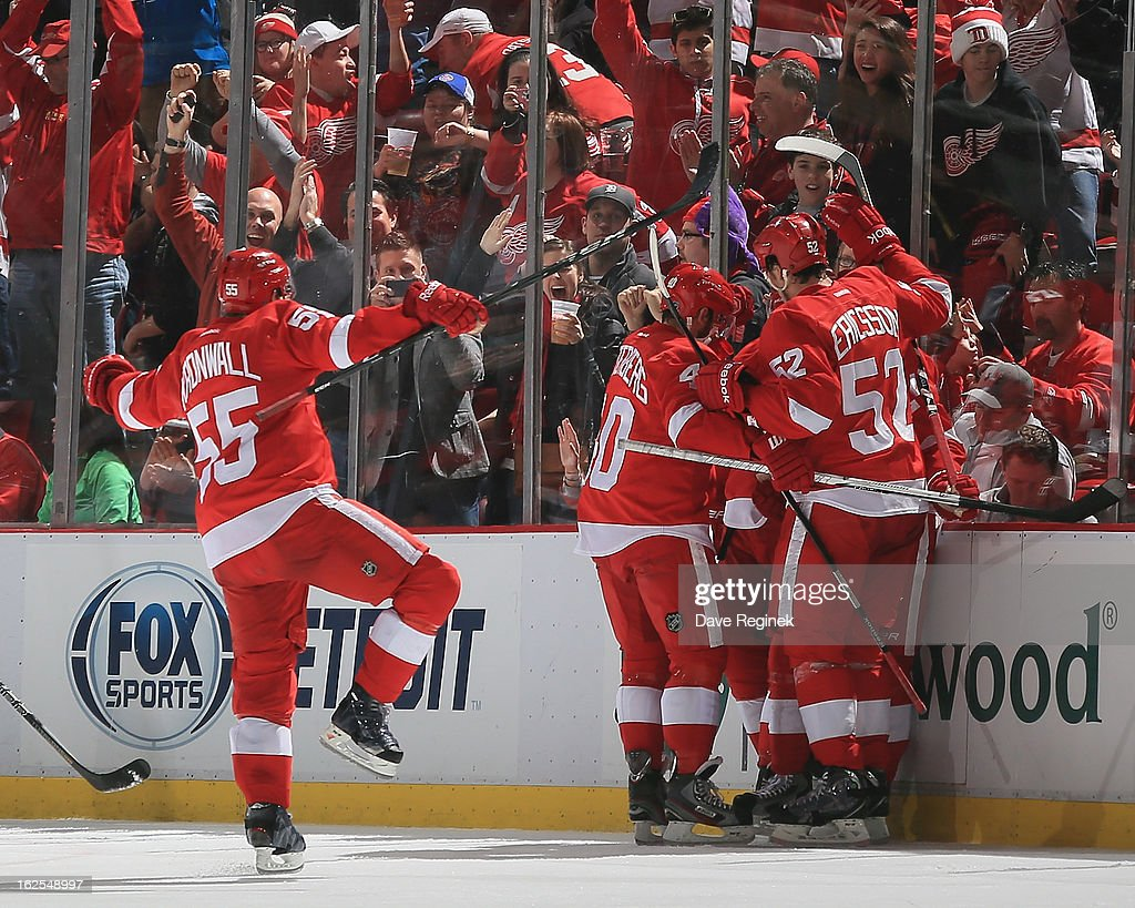 Damien Brunner #24 of the Detroit Red Wings celebrates his third period goal with Jonathan Ericsson #52, Henrik Zetterberg #40 and Niklas Kronwall #55 during a NHL game at Joe Louis Arena on February 24, 2013 in Detroit, Michigan. The Wings won 8-3