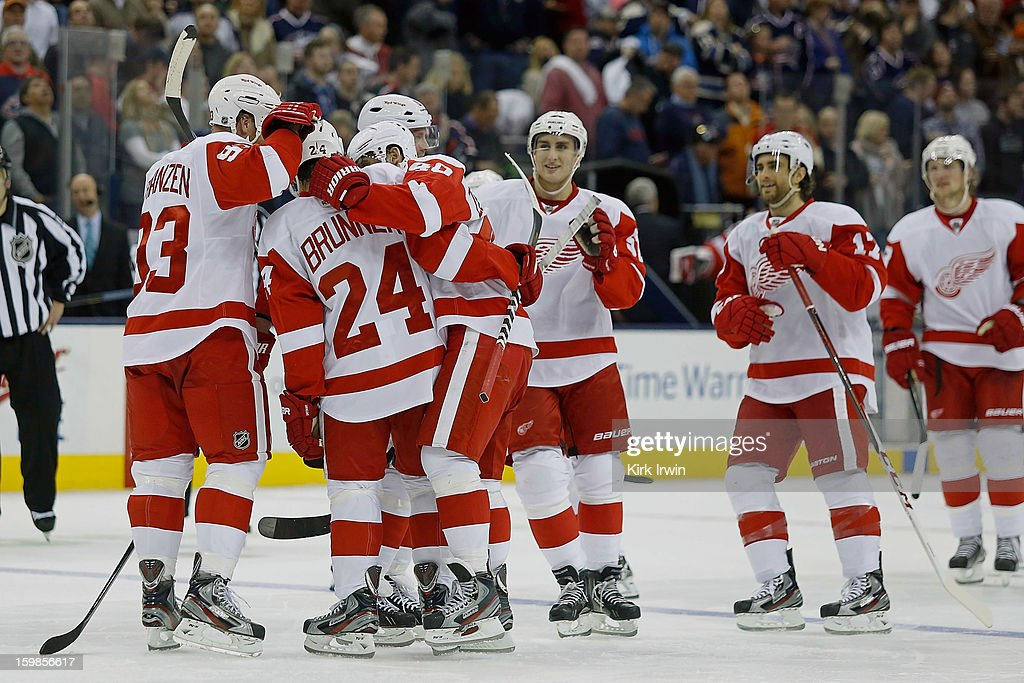 Damien Brunner #24 of the Detroit Red Wings is congratulated by his teammates after scoring the game winning goal during the shootout against the Columbus Blue Jackets on January 21, 2013 at Nationwide Arena in Columbus, Ohio.