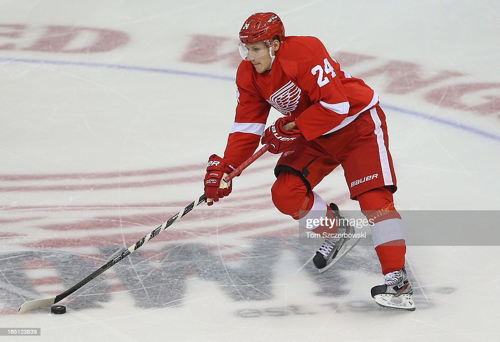Damien Brunner #24 of the Detroit Red Wings skates with the puck during an NHL game against the Chicago Blackhawks at Joe Louis Arena on March 31, 2013 in Detroit, Michigan.